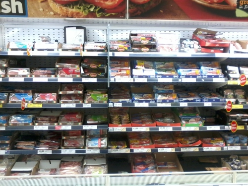 This was my choice of bacon in my local Tesco. 12 shelves with 40 different kinds of bacon