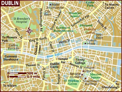 A map of Dublin with a tangle of curved roads