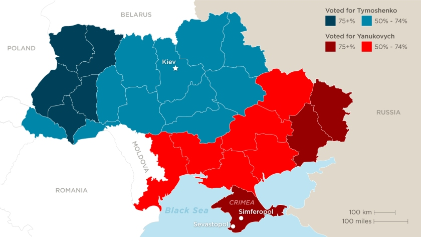 The result of the 2010 Presidental election by region. Note how the East-West divide mirrors the language divide