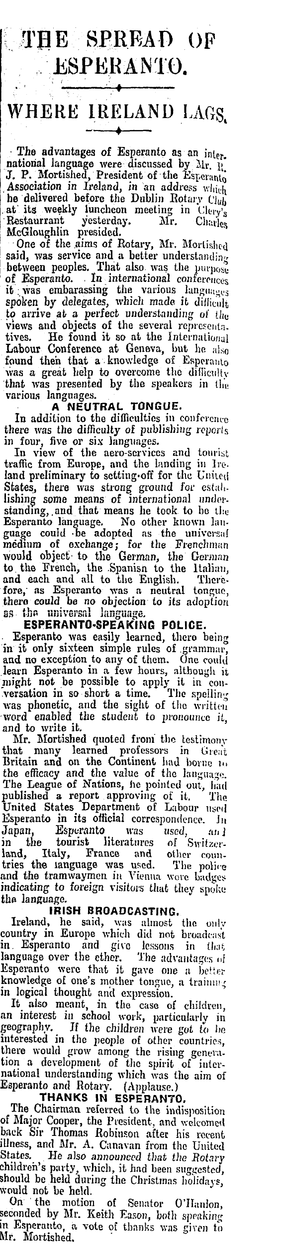 Irish Times 3rd of January 1928