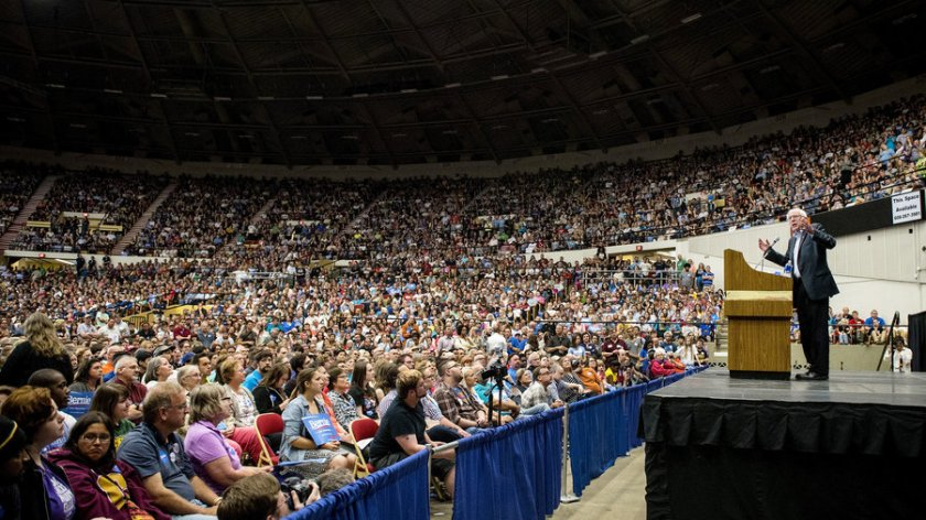 Just one of the many massive Bernie Sanders rallies