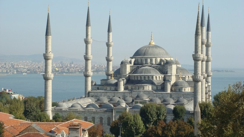 Blue Mosque in Istanbul, Sea of Marmara in background